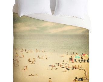 "Duvet Cover. Bedding.  Bedroom Decor. Beach Home Decor ""Vintage Beach"". Santa Cruz. California. Blue and Beige. Summer. Ocean. Beach Bedroom"