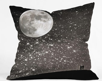 Starry Night Sky Throw Pillow. Dorm Decor. Stars and Moon. Night Art. Black and White. Silver. Love. Dreamy. Home Decor. Living Room Decor.