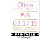 PRINTABLE Birth Announcement, Personalized baby gift, nursery wall art, Bird nursery, Newborn gift, baby Birth Stats, baby girl nursery