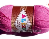 Alize Diva Stretch - elastic (resilient) yarn. Springy yarn. Stretchy yarn. Color hot pink yarn. Color 378. DSH(P2)