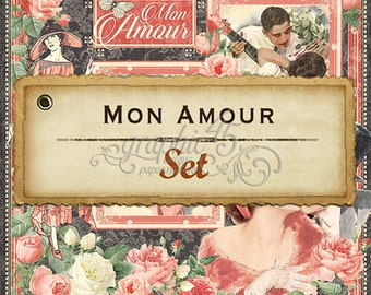 """Graphic 45's """"Mon Amour"""" Collection 12x12 Set Papers"""
