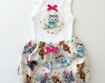 Kitten Shorties Baby Bloomers and tank set