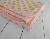 Pearlized Blush and Gold Chevron/Dots Crib or Toddler Bedding