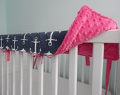 MORE COLORS Reversible Crib Teething Rail Padded Front Cover with Fabric Ties 51 inches - Large Navy Sailor Print with White minky and ties