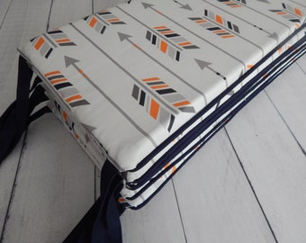 Crib Bimper Pads - Large Arrows in Navy, Orange, Grey, Charcoal - Shown with Navy Blue Piping and Ties