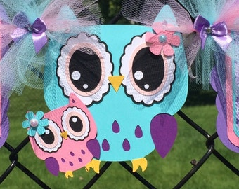 Owl baby shower banner, owl banner, owl baby shower decor, teal and purple decor, owl girl banner, its a girl banner, table sign, photo prop