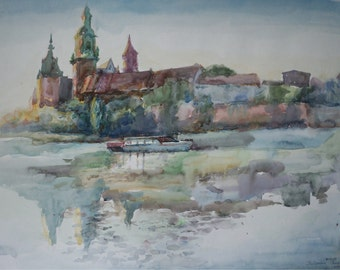 View of the old palace from the the Vistula river. Morning. Original Watercolor Painting.