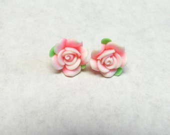 Pink Rose Flower Earrings Post