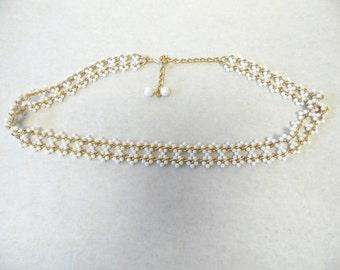 White Gold Chain Belt Beaded