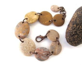 Stone Bracelet Mediterranean Beach Stone Jewelry River Stone Bracelet River Rock Beach Rock Copper Rustic Jewelry SOPHOS