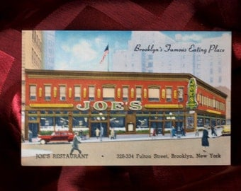 Postcard Joe's Restaurant Brooklyn's Famous Eating Place Food Auto 40s / 50s Vintage Linen Car Tourist Dining Color Advertising Art People
