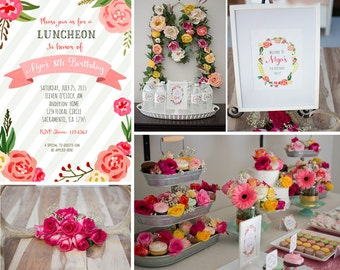 PRINTABLE Watercolor Floral Party Set