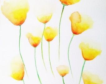 Yellow poppies / flowers / summertime - 8x10 print