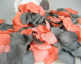 Coral & Grey Artificial Rose Petals | 500 | Coral and Gray Wedding | Flower Girl Basket Petals | Ceremony Petals Table Decor | Bulk