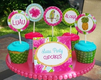 50% OFF SALE - Luau Party Circles Cupcake Toppers Printable - Instant Download - Watercolor Luau Collection