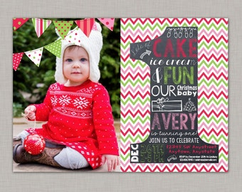 Christmas Birthday Invitation, First Birthday Invitation, Chalkboard Invitation