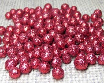 Mini red glitter balls foam deco marbles 3mm to 8mm heaping tablespoon / 15ml for miniature crafts kawaii decoden tiny150 - 200 pcs