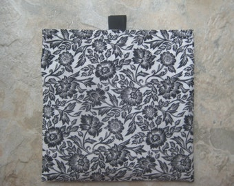 Black and White Floral - Reusable Sandwich Bag, Reusable Snack Bag with easy open tabs