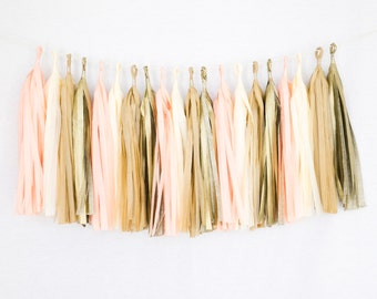 Tissue Paper Tassel Party Garland (20 Tassels Per Package) - 14 Inch Long Tassels (Peach-Ivory-Tan-Gold)