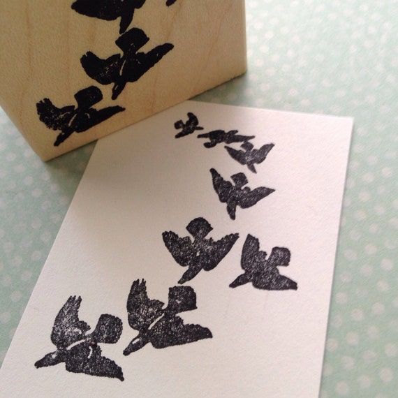 Flock of Crows Rubber Stamp 4351