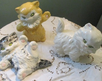 Lipper and Mann Kitten Figurines Set Of 3 / 1960s Ceramic Kitty Adorable