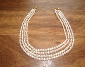 vintage necklace 4 strand faux pearls