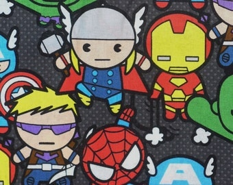 Marvel Kawaii,  Super Heroes Fabric, Spider Man Hulk Captain America Iron Man Thor Hawkeye,  Packed Style, By the Yard