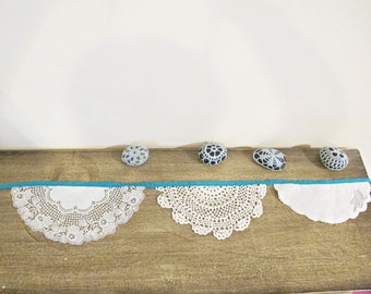 Turquoise Bunting Vintage Wedding. Doilies Teal Green Peacock Cream Beige White. Crochet Shabby Chic Repurposed Domum Vindemia Bridal Shower