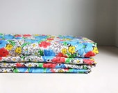 Soviet Vintage Floral Fabric. White, Blue, Yellow, Pink, Red, Green.