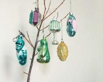 Rare 6 Midcentury Vintage Russian Mercury Glass Christmas Ornaments. Traditional Christmas Holiday Decor. SET2