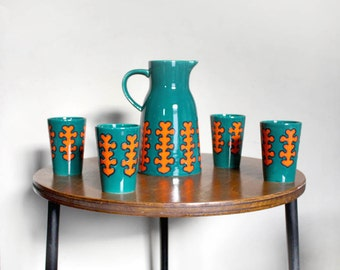 1970s Ceramic Jug and Four Cups. Jade Green and Orange