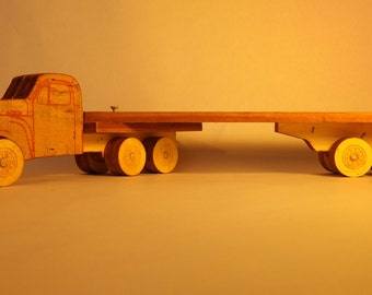 Semi Truck & Trailer, Folk Toy, 18 inches long