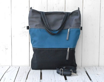 Tote Bag Canvas ~ Striped Cross Body Messenger ~ unique gift for College students, grey petrol blue black foldover casual shopping