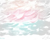 Ocean Art, Ocean Abstract, Pastel & Gray, Acrylics, Coastal Art, Sea Art, Beach Decor, Cottage Chic, Shabby Decor, Pink, Aqua, Peach, White