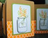 Mason Jar Thank You Cards Set of 3, Fall Thank You Notes Set