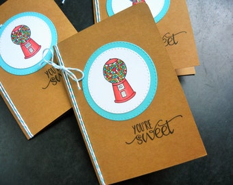 Gumball Thank You Cards Set of 3, Children's Thank You Note CardsHandmade Thank You Notes Set