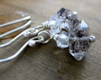 Herkimer Diamond Crystal Stack Earrings // Sterling Silver // Hand Forged // Everyday Wear // Minimalist // Earthy // Organic // Quartz