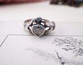 vintage sterling silver and crystal heart ring - Irish, claddagh, size 6.5