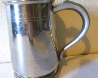 Vintage English Sheffield Pewter Tankard Silver Metal Pub Mug European Stein