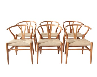 Vintage Hans Wegner Wishbone Chairs - Set of 6