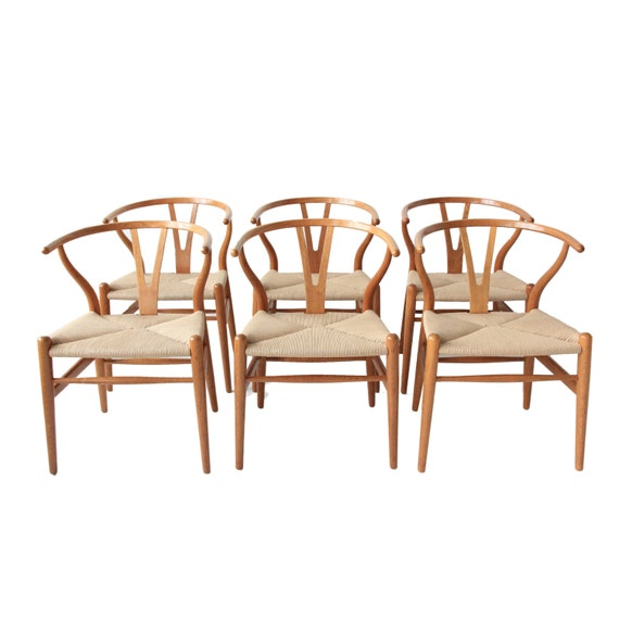 vintage hans wegner wishbone chairs set of 6 by at1stsight. Black Bedroom Furniture Sets. Home Design Ideas