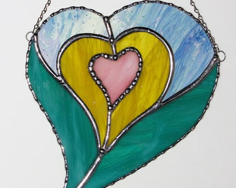 Stained Glass Suncatcher - Four Hearts in One, Valentine Heart, Valentine's Day Gift, Wedding Gift