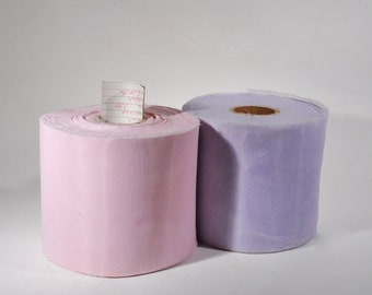 Two Vintage Bolt Fabric Rolls Ribbon 171 yds each Pink and Purple Sheer