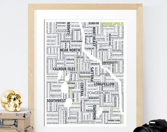 Minneapolis Typography Map 8x10 Print