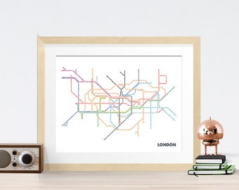 London Underground Typography Map 8x10 Print