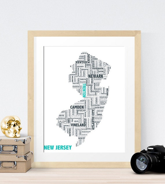 New Jersey Typography Map 8x10 Print