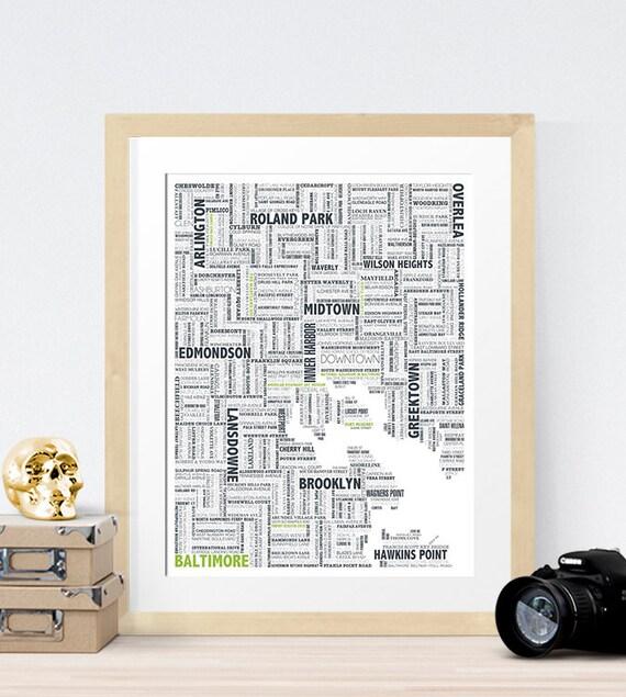 Baltimore Typography Map 8x10 Print