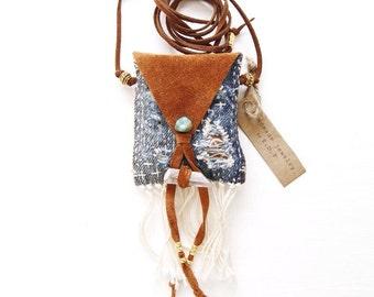 PN-13, One of a kind handmade/stitched/sawn sashiko denim pouch necklace