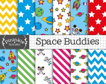 Space Digital Paper, Digital Scrapbook Paper, Digital Background, Commercial Use, Astronaut, Rocket, Space Ship, Planet, Alien, Moons, Stars