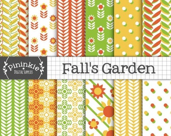 Fall Digital Paper, Autumn Scrapbook Paper, Floral Thanksgiving Digital Images, Sunflowers, Polka Dots, Instant Download, Commercial Use